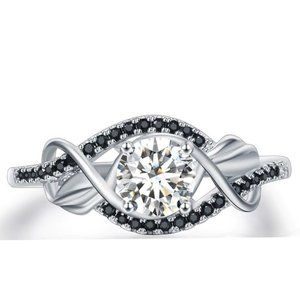 1.45 ctw Sterling SILVER Simulated Diamond Ring